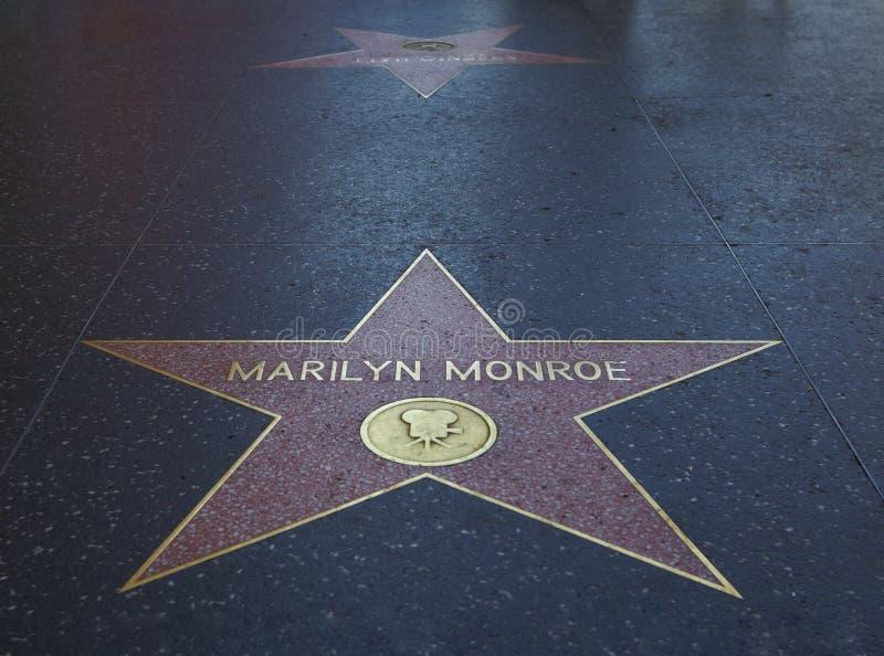 Estrela de Marilyn Monroe na caminhada da fama imagens de stock