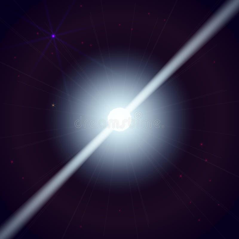 A estrela de nêutron faz ondas do raio da radiação no universo profundo Ilustração do vetor ilustração do vetor