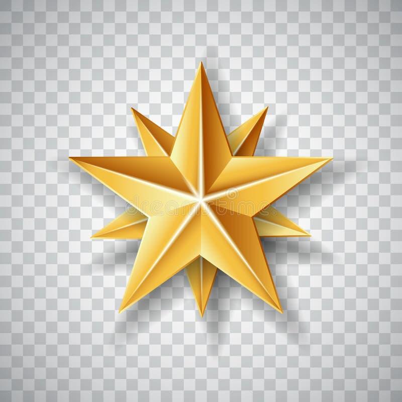Estrela de papel do Natal do ouro no fundo transparente Ilustração do vetor ilustração royalty free