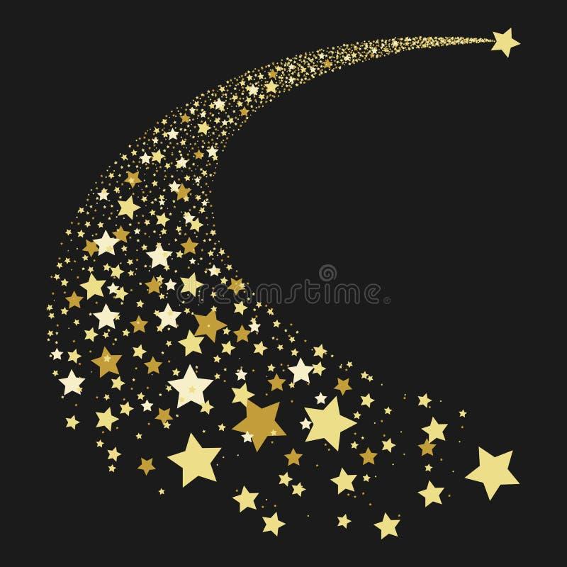 Estrela de queda abstrata do ouro ilustração stock