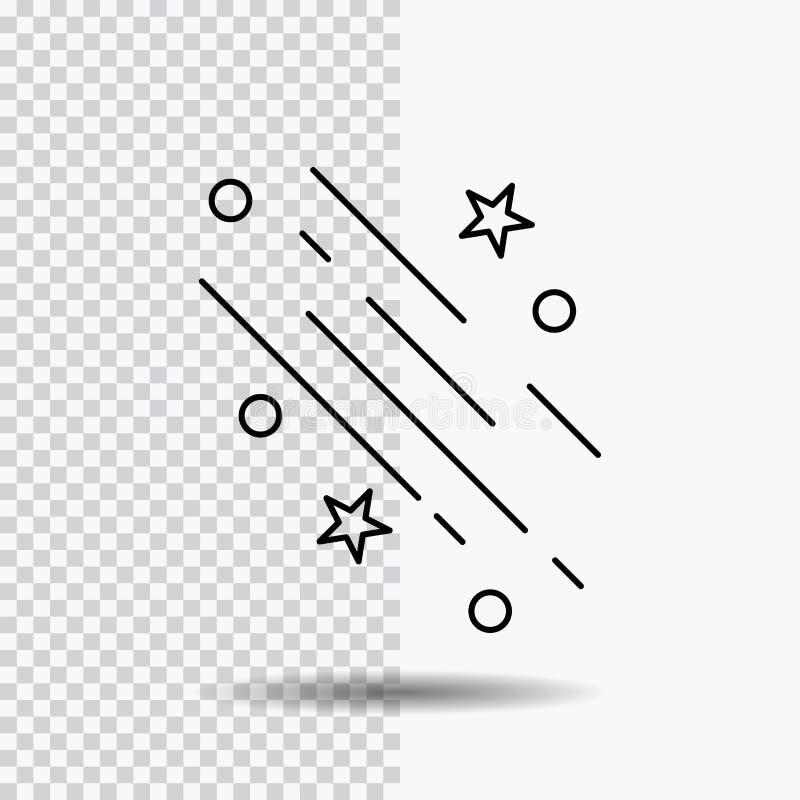 a estrela, estrela de tiro, caindo, espaço, estrelas alinha o ícone no fundo transparente Ilustra??o preta do vetor do ?cone ilustração do vetor