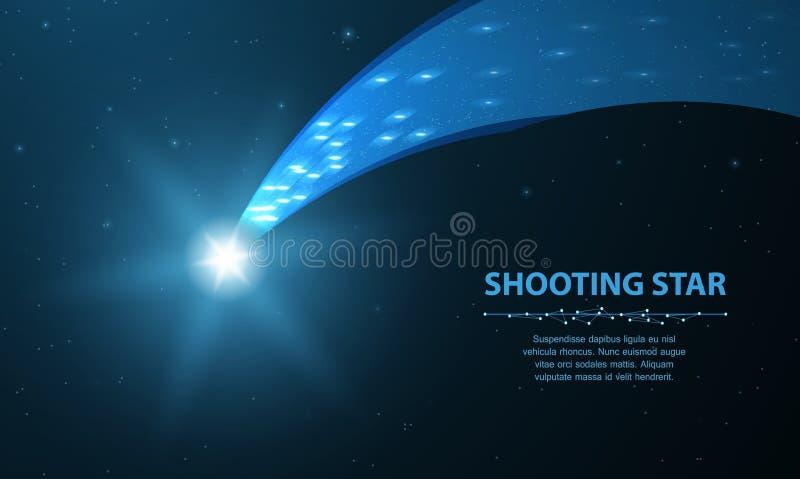 Estrela de tiro Cometa de queda com fulgor na obscuridade - fundo azul com pontos e estrelas ilustração royalty free