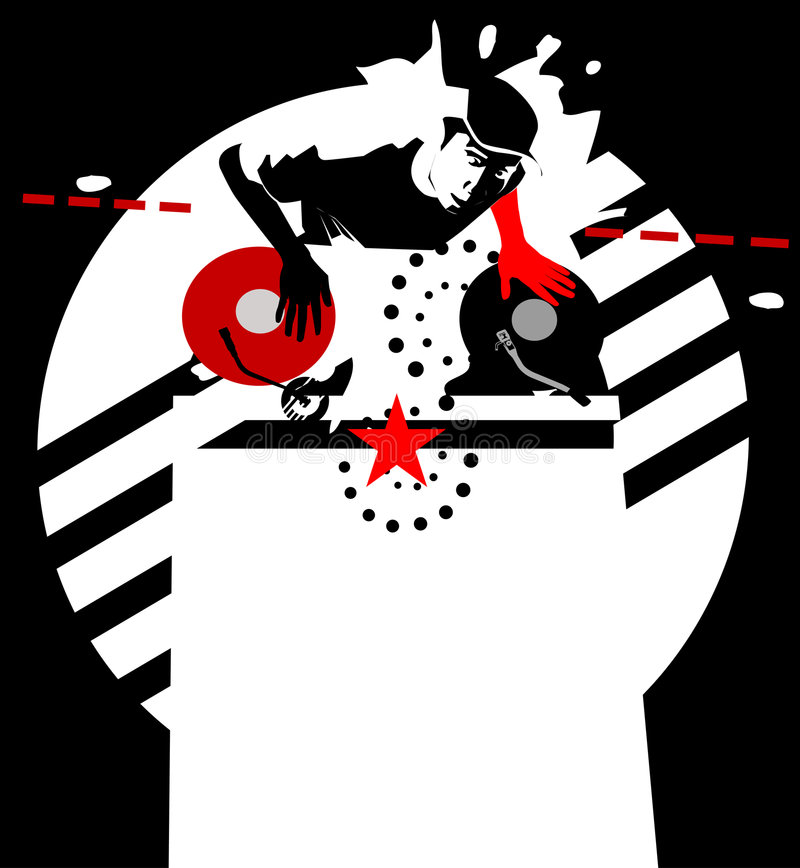 Estrela DJ. preto-vermelho-branco   ilustração royalty free