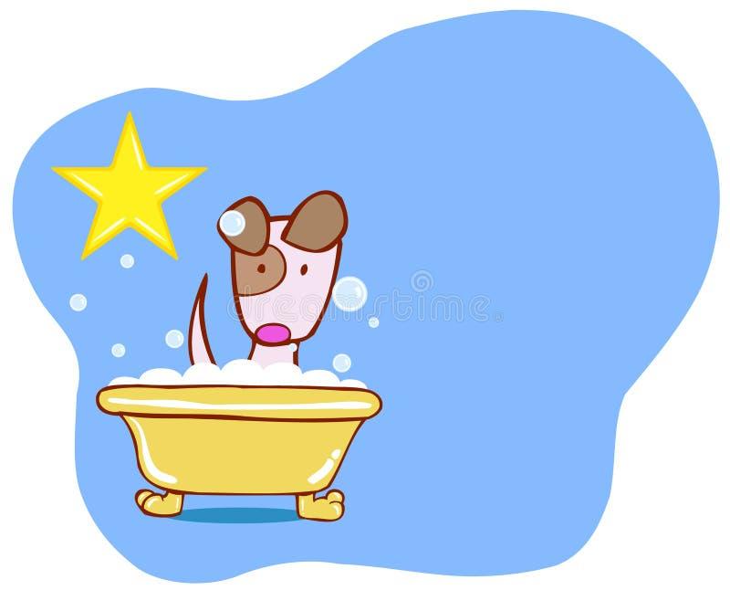 Estrela do banho do cão - filhote de cachorro ilustração royalty free