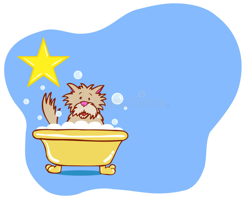 Estrela do banho do cão - terrier ilustração stock