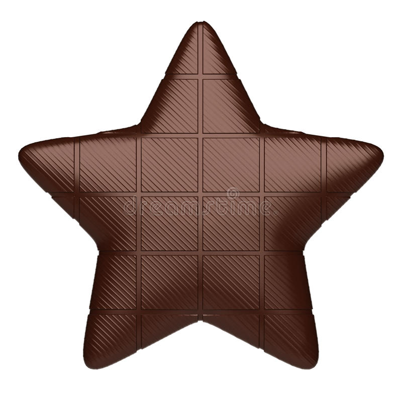 Estrela do chocolate. Isolado no branco imagens de stock royalty free
