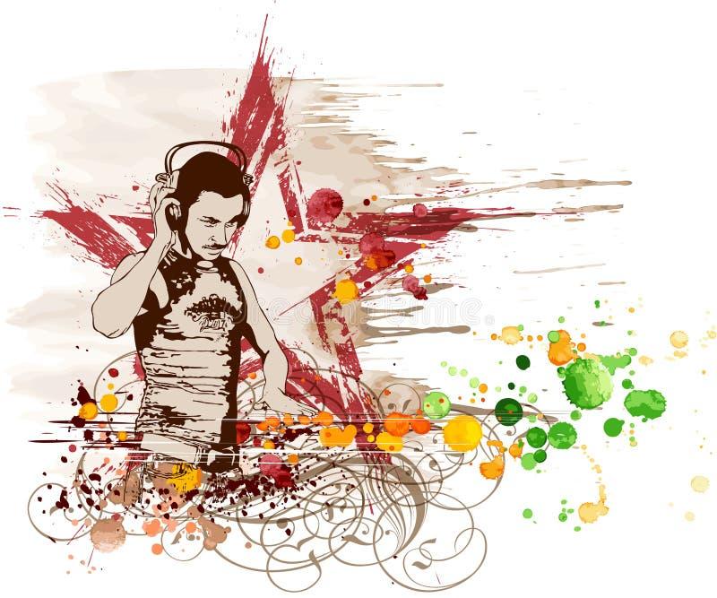 Estrela do DJ & mistura das cores da música ilustração royalty free