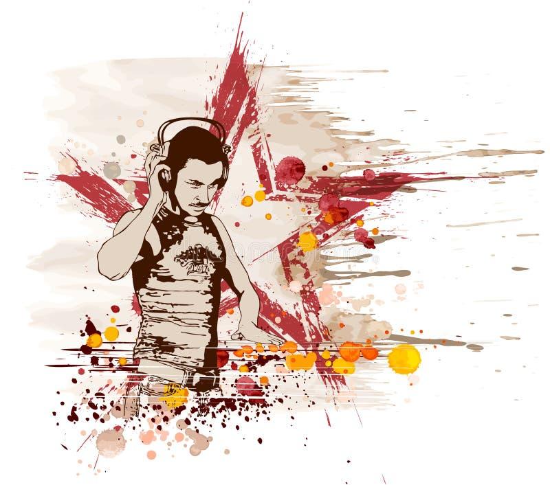 Estrela do DJ & mistura das cores da música ilustração stock