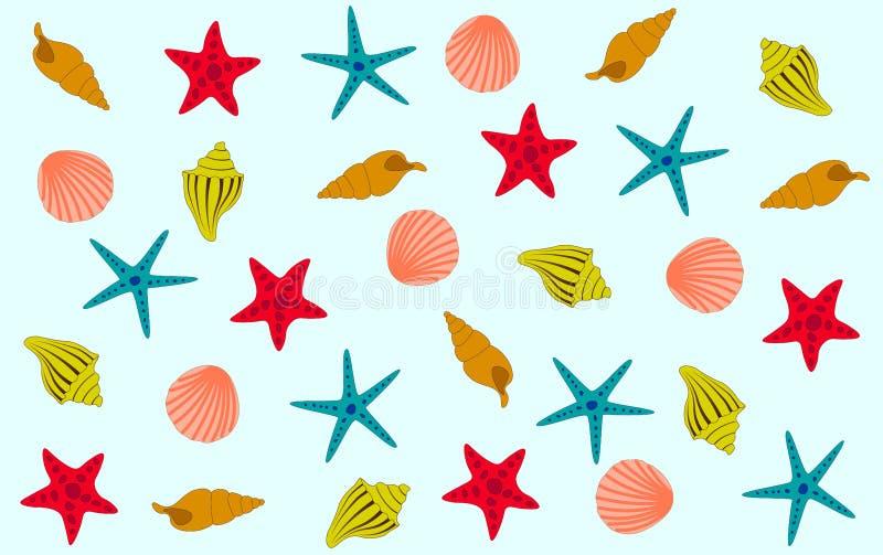 Estrela do mar e escudos coloridos em um fundo azul ilustração stock