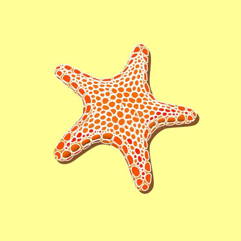 Estrela do mar manchado alaranjada em uma areia amarela ilustração stock