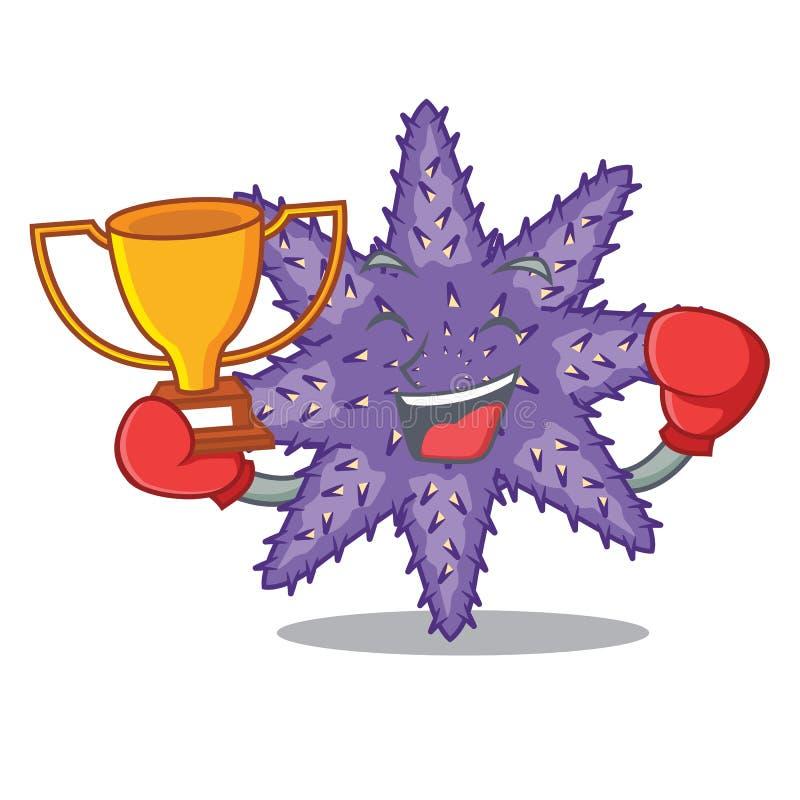 Estrela do mar roxa de encaixotamento do vencedor os desenhos animados acima da areia ilustração stock