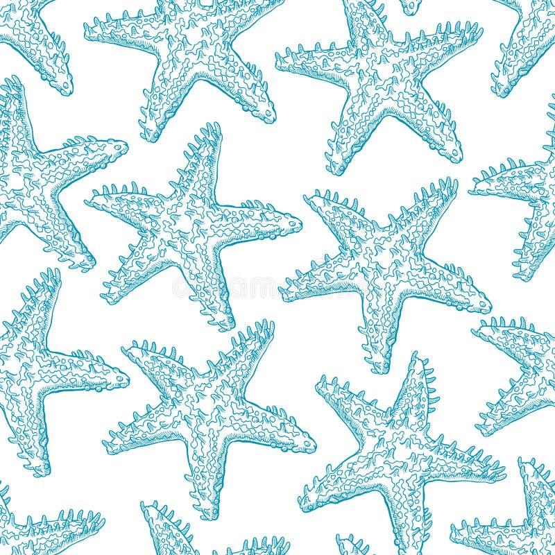 Estrela do mar sem emenda do azul do esboço ilustração do vetor