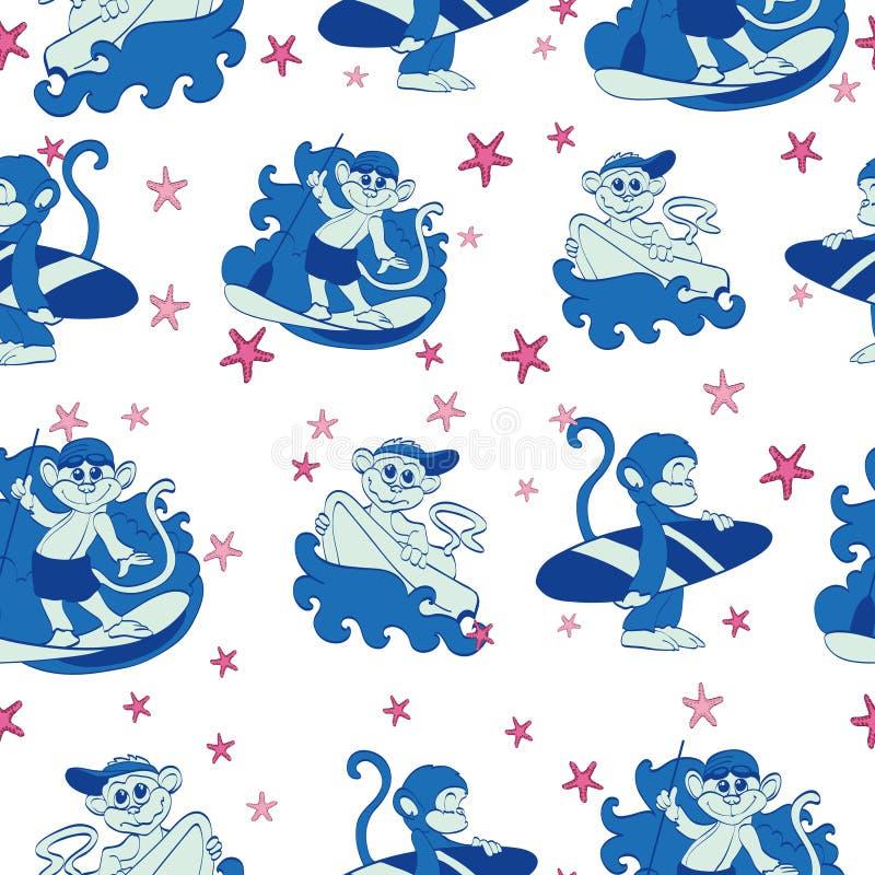 Estrela do mar surfando dos macacos do divertimento do vetor sem emenda ilustração royalty free