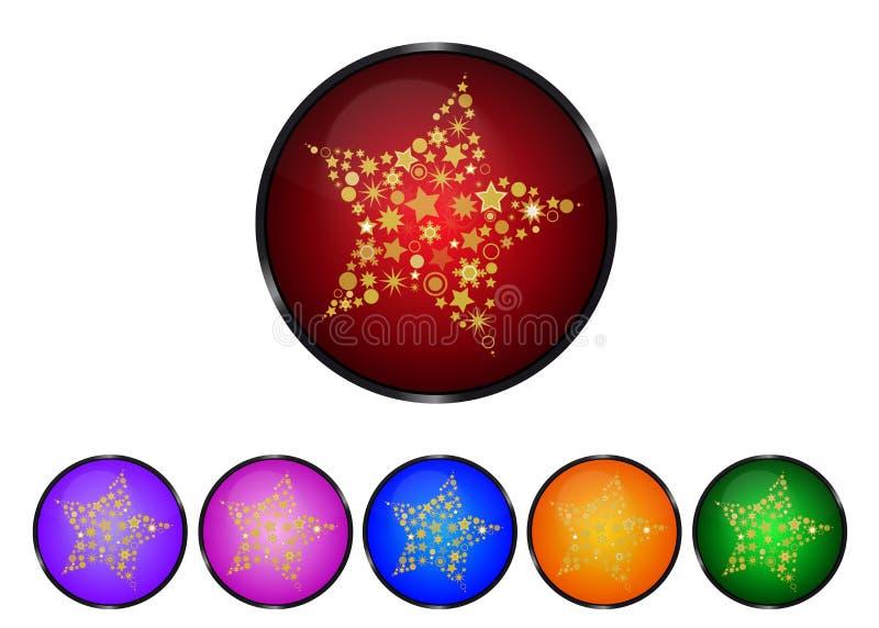 Estrela do Natal - botão colorido ajustado - ilustração do vetor ilustração stock