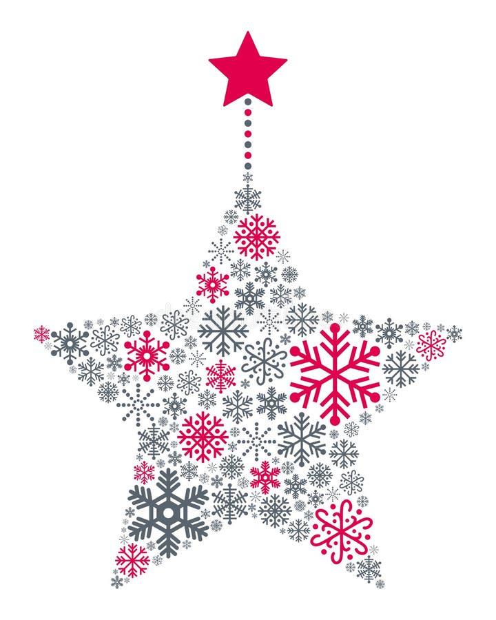 Estrela do Natal dos flocos de neve ilustração do vetor