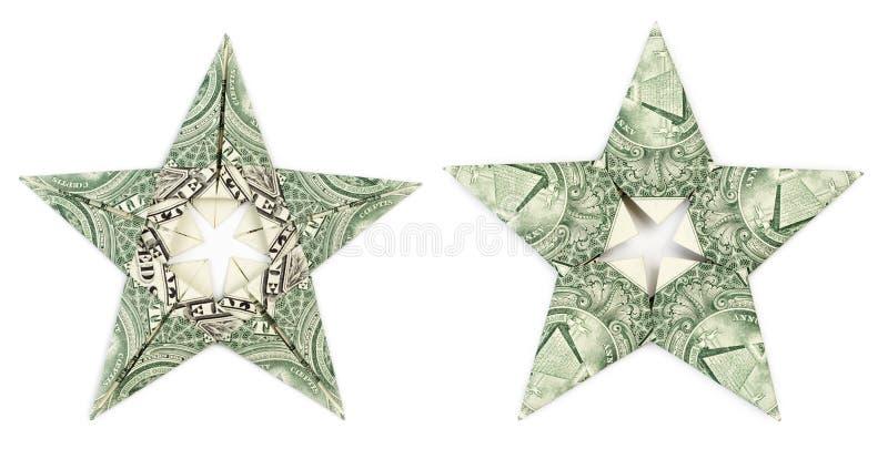 Estrela do origâmi do dólar isolada imagens de stock royalty free