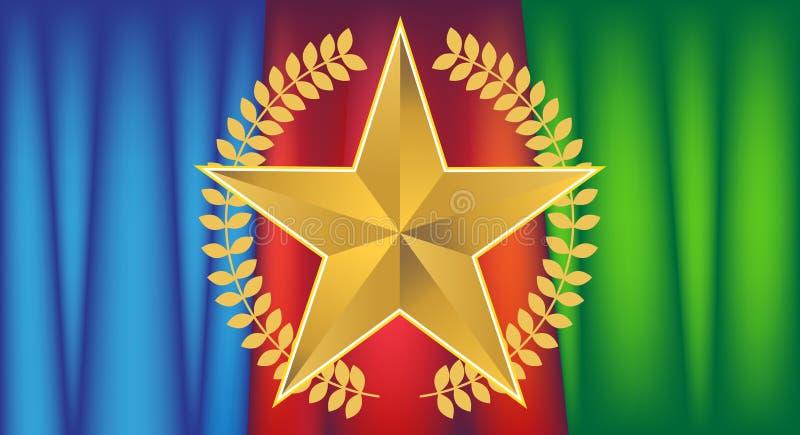 Estrela do ouro com Drapery ilustração royalty free