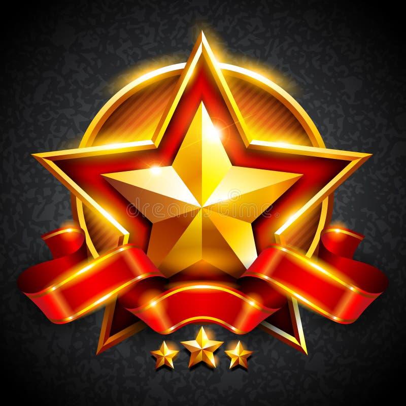 Estrela do ouro com uma fita vermelha ilustração royalty free