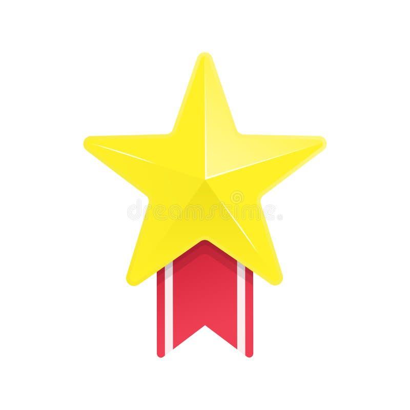 Estrela do ouro e fita vermelha ilustração royalty free
