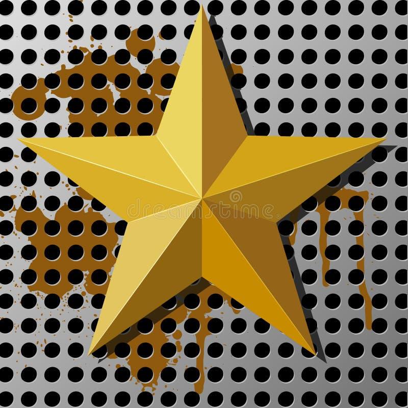 Estrela do ouro em um fundo do metal com furos ilustração stock