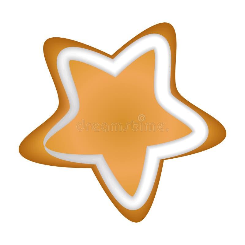 Estrela do pão-de-espécie com esmalte Isolado Natal handmade tração ilustração do vetor