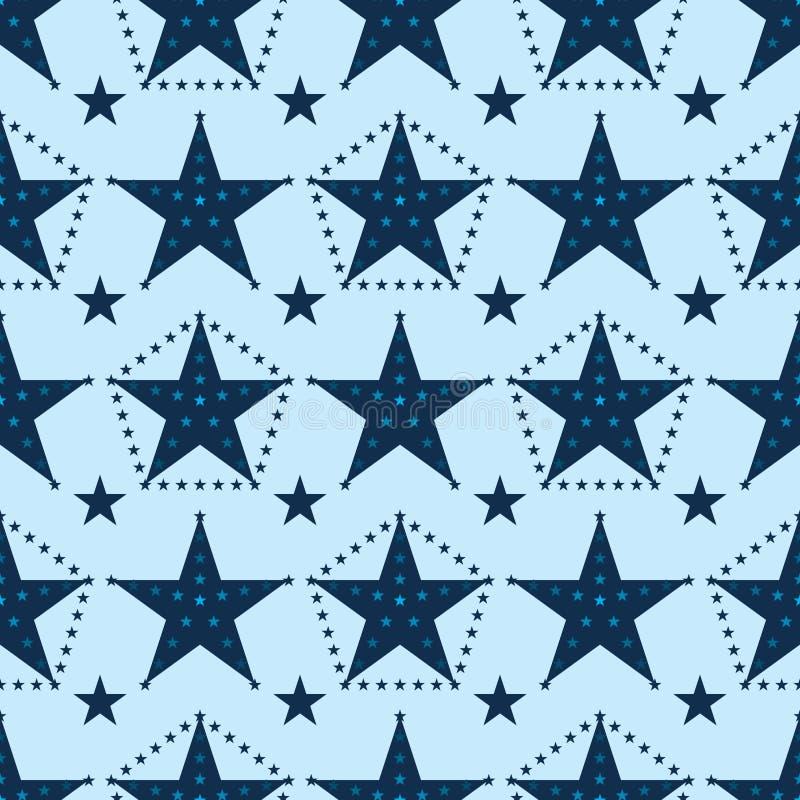 Estrela do ponto da estrela em torno do teste padrão sem emenda ilustração do vetor