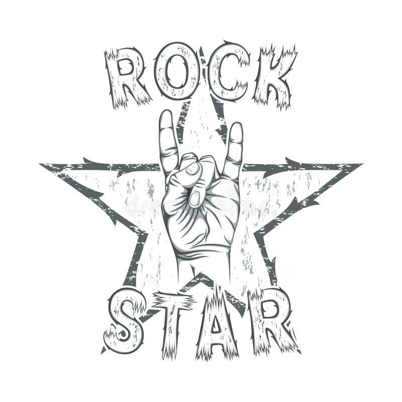 Estrela do rock, cópia para o gráfico do t-shirt ilustração do vetor