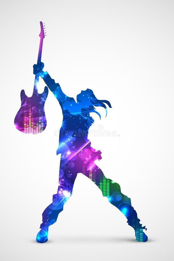 Estrela do rock com guitarra ilustração royalty free