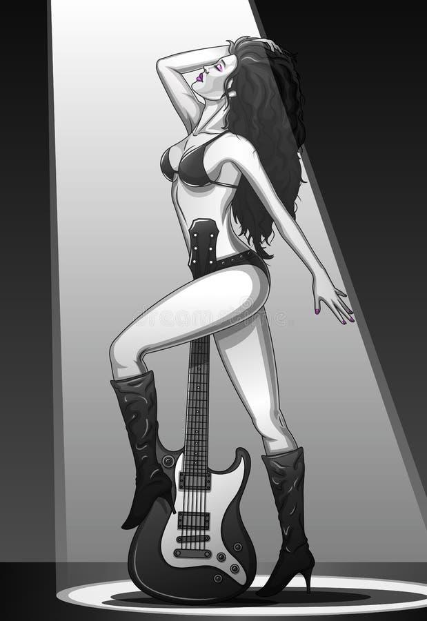 Estrela do rock fêmea com guitarra ilustração do vetor