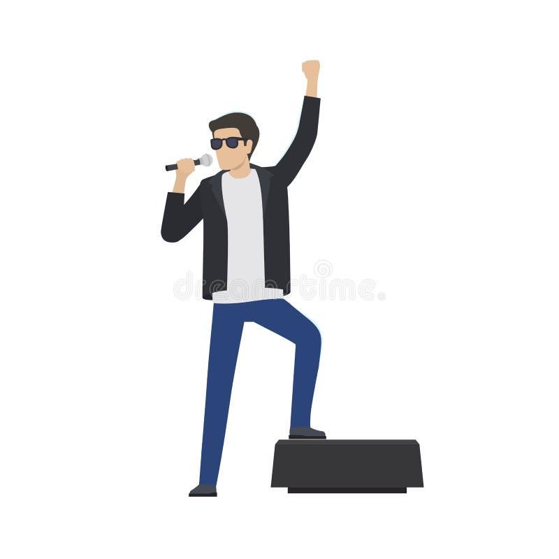 A estrela do rock no casaco de cabedal canta no microfone ilustração royalty free