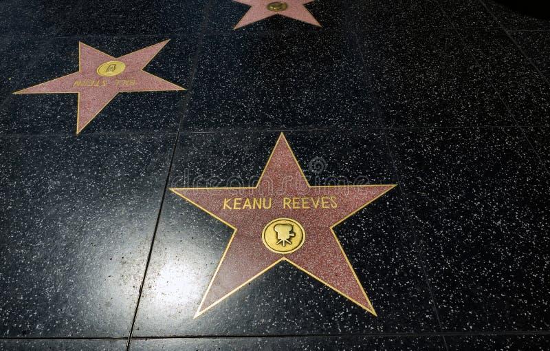 Estrela do ` s de Keanu Reeves, caminhada de Hollywood da fama - 11 de agosto de 2017 - bulevar de Hollywood, Los Angeles, Califó fotos de stock royalty free