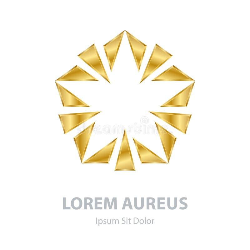 Estrela do sumário do ouro do vetor no fundo branco Te incorporado do logotipo ilustração royalty free