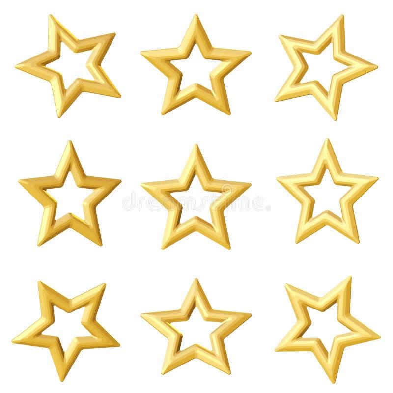 Estrela dourada Ângulos diferentes imagens de stock