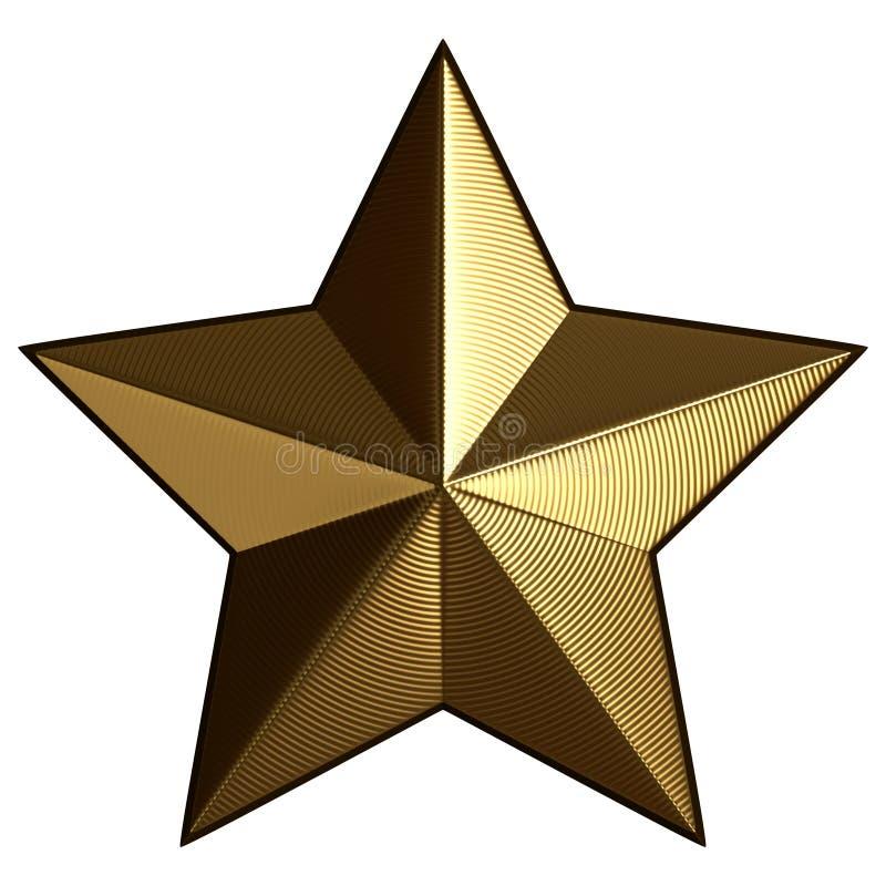 Estrela dourada agradável com a ondinha isolada no fundo branco ilustração stock