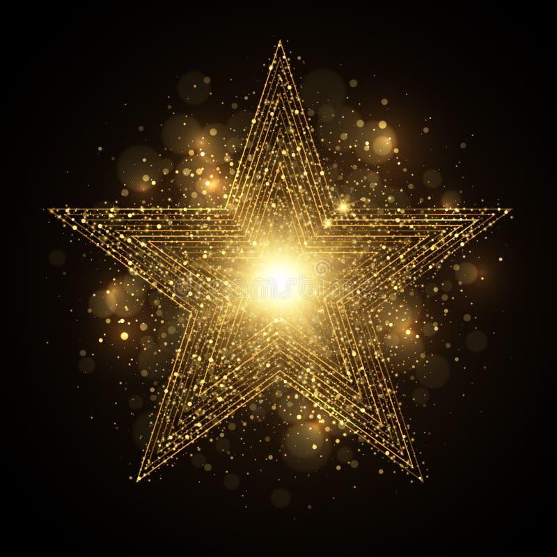 Estrela dourada brilhante com sparkles ilustração royalty free