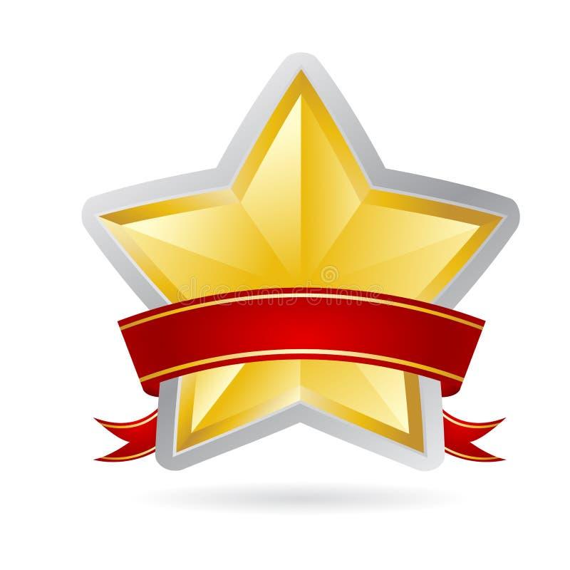 Estrela dourada com fita vermelha ilustração royalty free