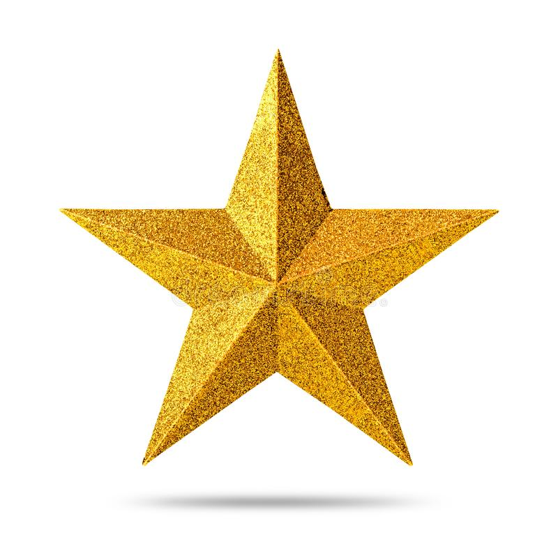 Estrela dourada com textura do brilho isolada no fundo branco Decoração do Natal fotografia de stock royalty free