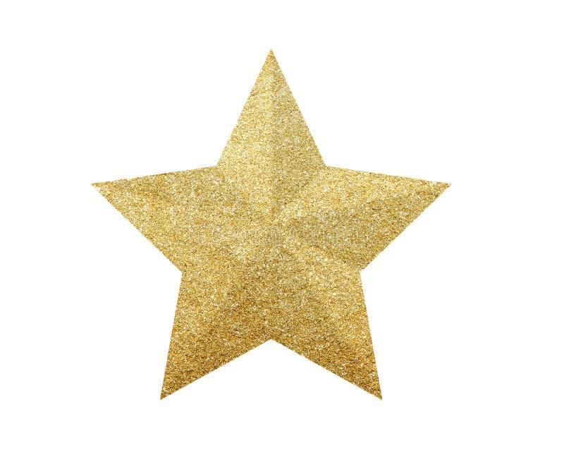 Estrela dourada do Natal isolada no branco fotos de stock royalty free