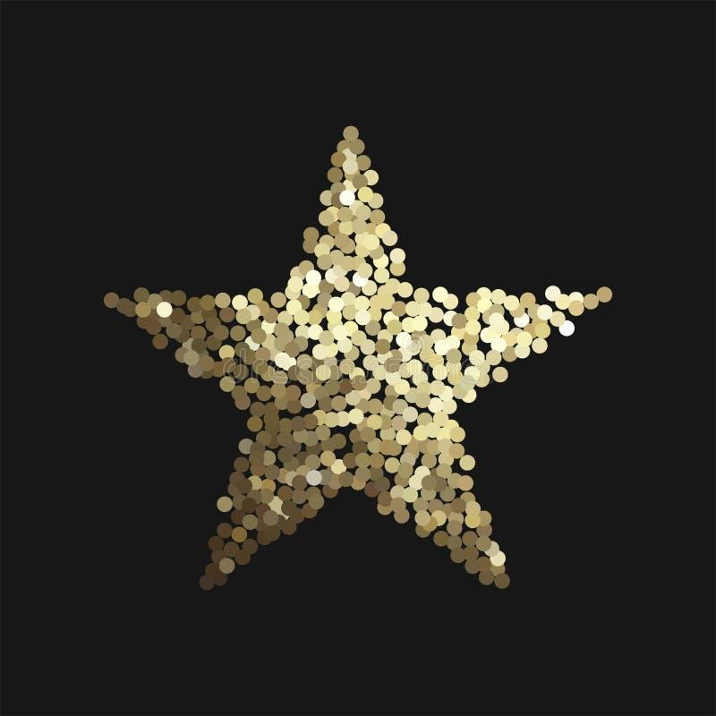 Estrela dourada isolada no fundo preto ilustração do vetor