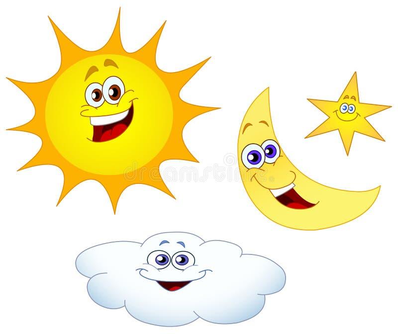 Estrela e nuvem da lua de Sun ilustração royalty free