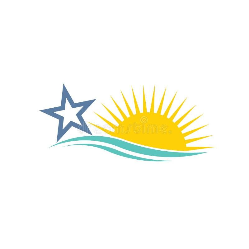 Estrela e sol Logo Swoosh ilustração do vetor