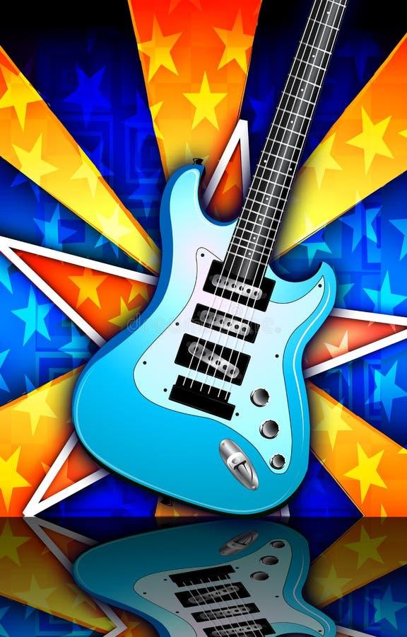 A estrela estourou a ilustração da guitarra da rocha azul ilustração stock