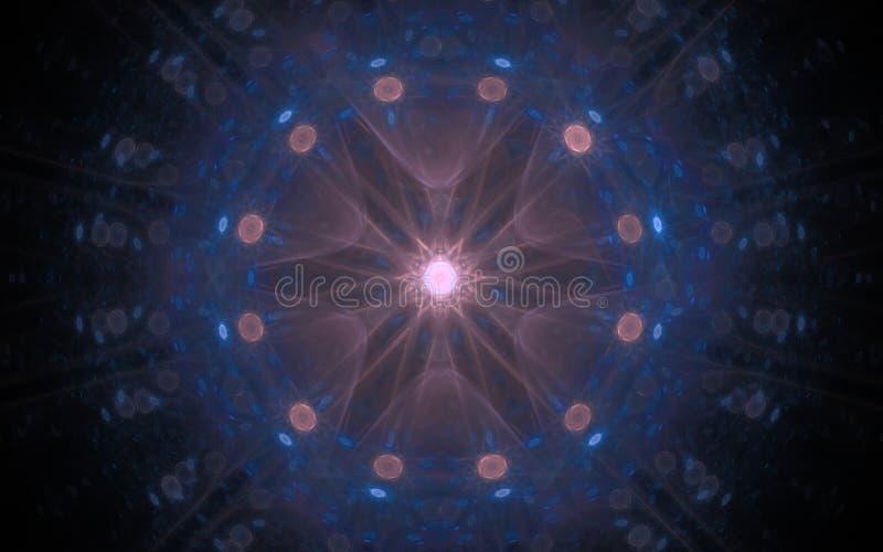 Estrela fantástica cor-de-rosa em um fundo preto com seis raios e uma borda azul ilustração stock