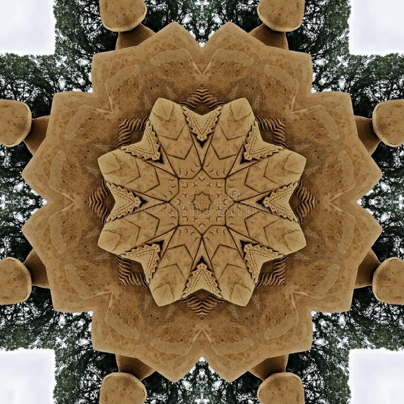 Estrela feita da areia e do caleidoscópio completamente visto árvores ilustração do vetor