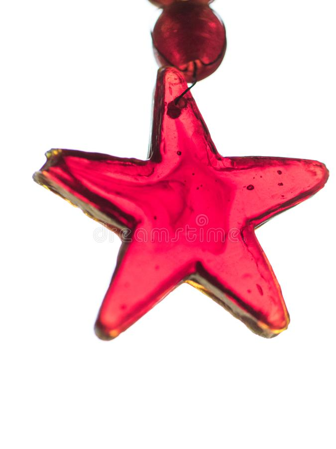 Estrela feito à mão do ornamento de vidro feito a mão do Natal fotos de stock royalty free