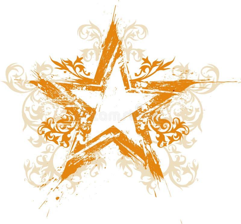 Estrela floral do grunge do ouro ilustração stock
