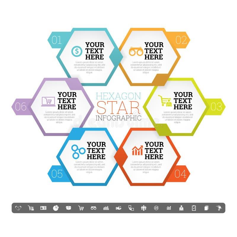 Estrela Infographic do hexágono ilustração do vetor