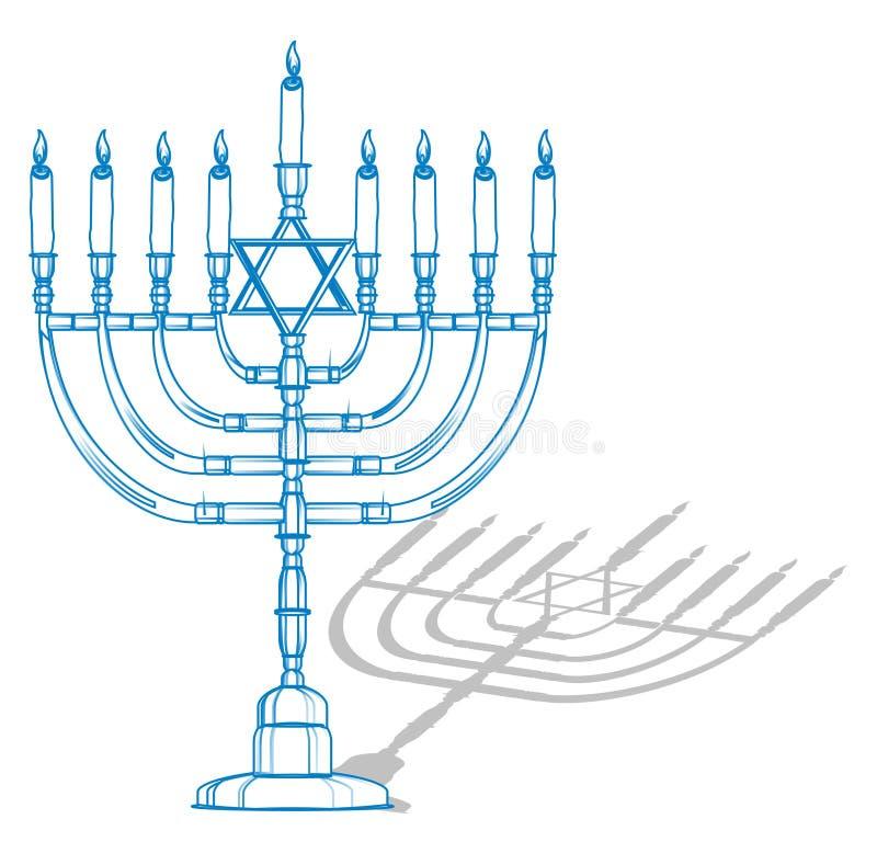 Estrela judia num candelabro ilustração stock