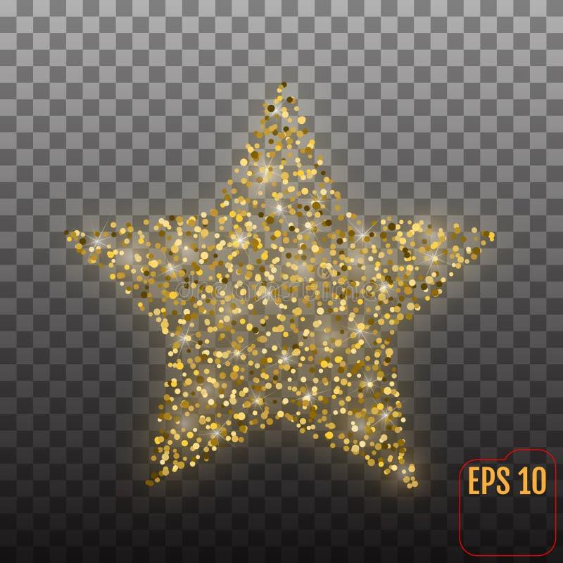 Estrela luxuosa do ouro do vetor Elemento para anunciar o cartaz para o resto ilustração royalty free