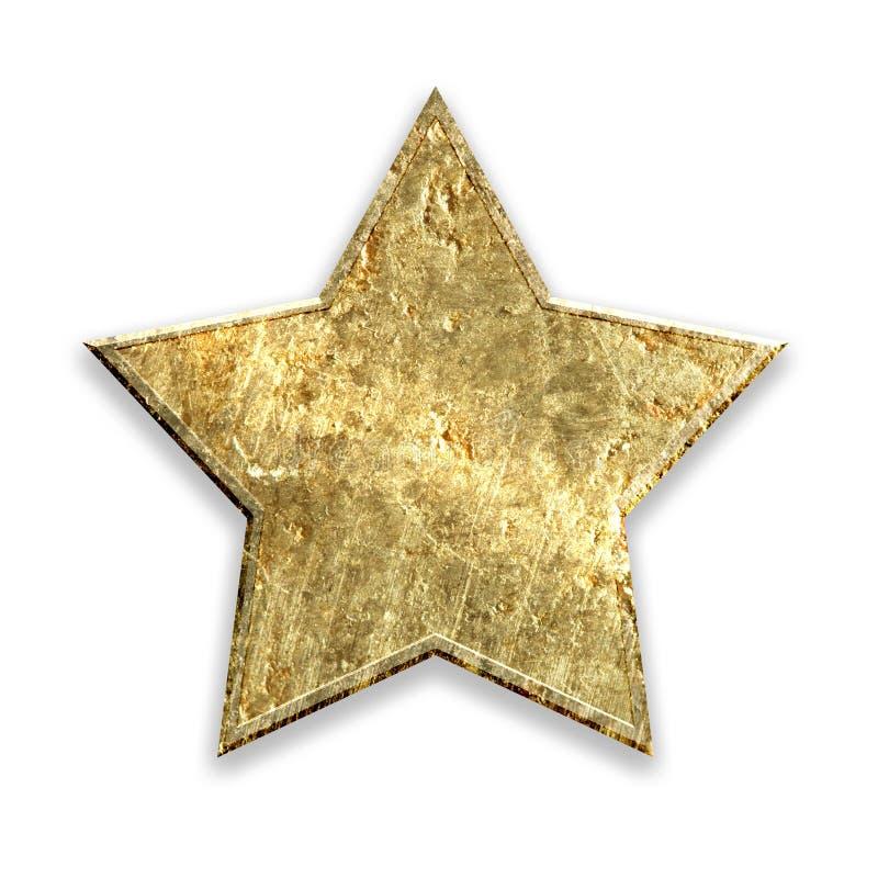 Estrela metálica do grunge do ouro ilustração do vetor